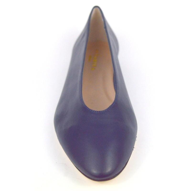 Altariva Ballerina Accollata Blu Fondo cuoio