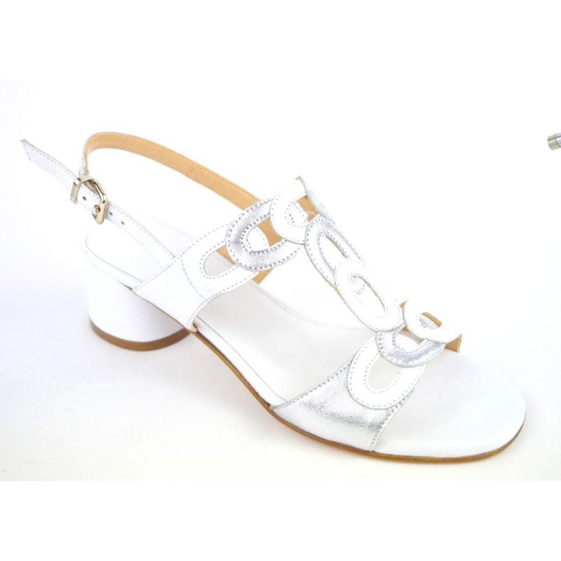 Altariva Sandali Anelli Bianco + argento Fondo cuoio