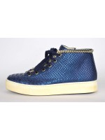 Stokton Sneakers Stampato pitone Mid catena Blu Fondo gomma