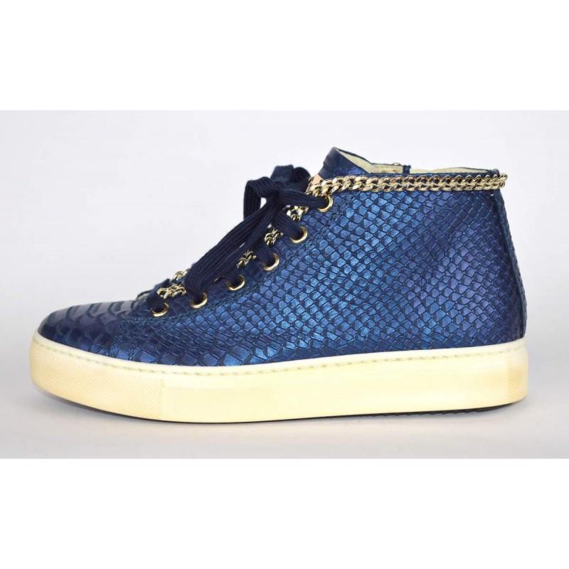 Stokton Sneakers Stampato pitone Mid catena Blu Fondo gomma d9179beb551