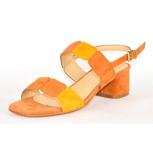 Altariva Sandali Due fasce Quadrati Cuoio+giallo+arancio Fondo cuoio