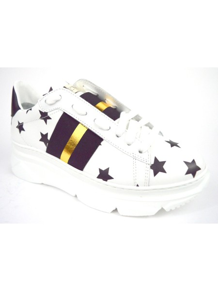Stokton Sneakers Stelle Banda Bianco + nero Fondo gomma