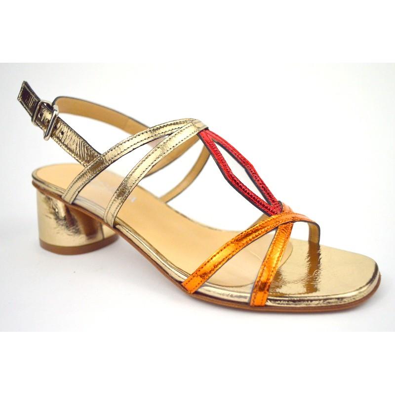 Altariva Sandali Oro + rame + rosso Fondo cuoio