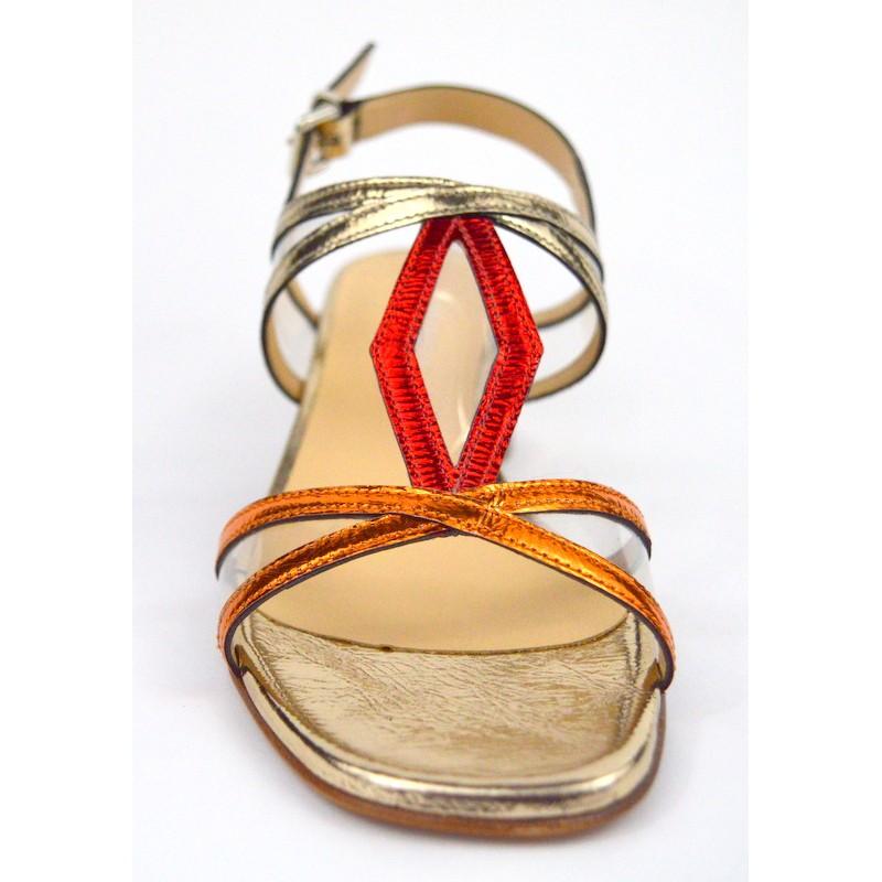 Legazzelle Sandali Oro + rame + rosso Fondo cuoio