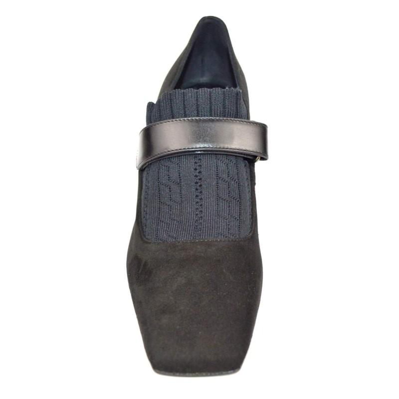Lella baldi Pantofola Nero Fondo cuoio e gomma