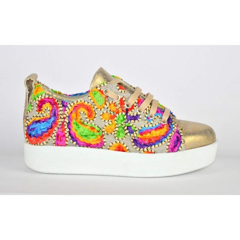 Andia fora Sneakers Multicolore Lato Beige + oro Fondo gomma