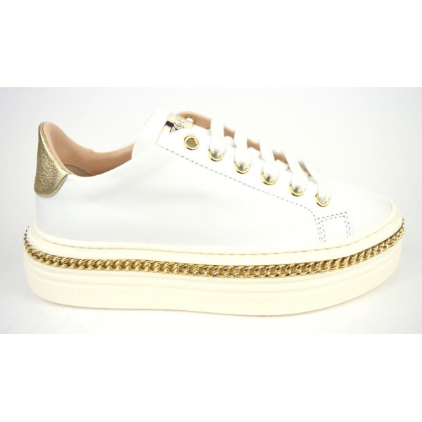 Stokton Sneakers Catena Intrecciata Bianco Fondo gomma