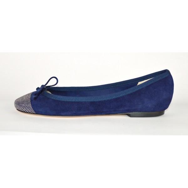 Altariva Ballerina Punta Borchie Blu Fondo cuoio