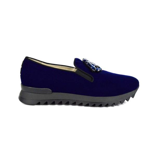 181 Loafers Strass Blu Fondo gomma