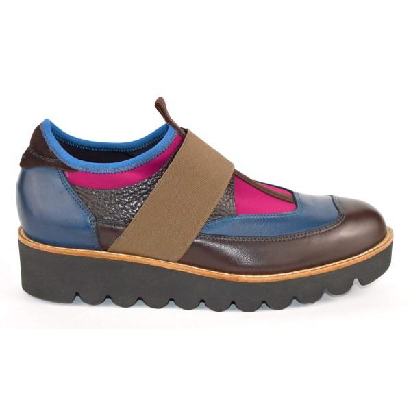 Truman's Sneakers Elastici Pantofola Marrone + blu Fondo gomma