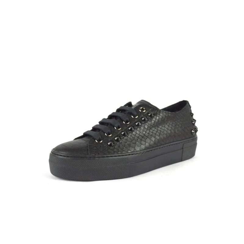 Stokton Sneakers Stampato pitone Borchie Nero Fondo gomma
