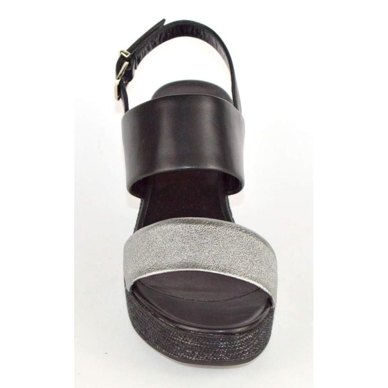 Altariva Sandali Due fasce Nero + argento scuro Fondo cuoio