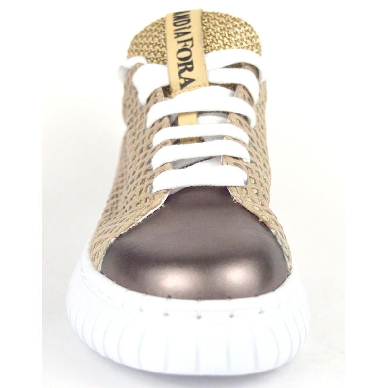 Andia fora Sneakers Acciaio+rosa Fondo gomma
