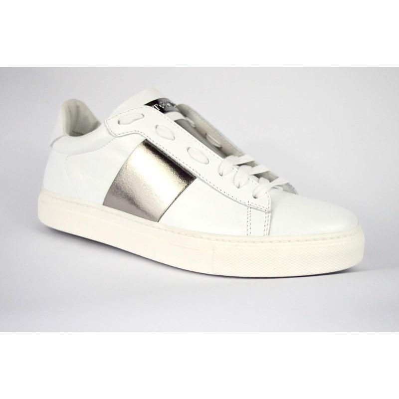 Stokton Sneakers Bianco + argento Fondo gomma