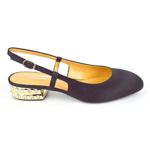 Giovanni fabiani Chanel Tacco strass Nero + oro Fondo cuoio