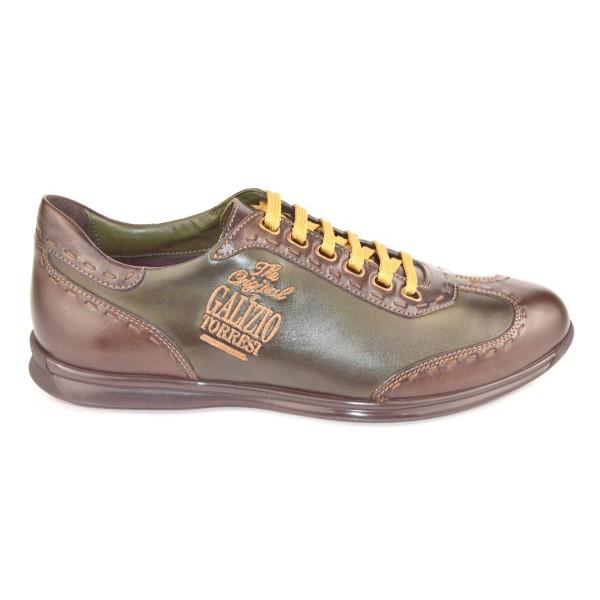 Galizio torresi Sneakers Impunturata Verde + marrone Fondo gomma