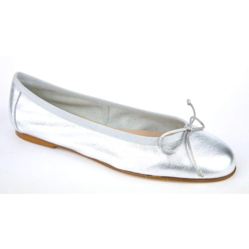 Altariva Ballerina Lame' Argento Fondo cuoio