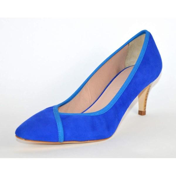 Ancarani Sandali Elastico Blu Fondo cuoio