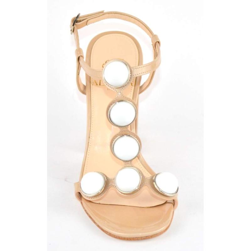 Altariva Sandali Perle Cipria + bianco Fondo cuoio
