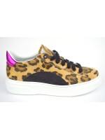 Stokton Sneakers Leopardato Beige + nero Fondo gomma