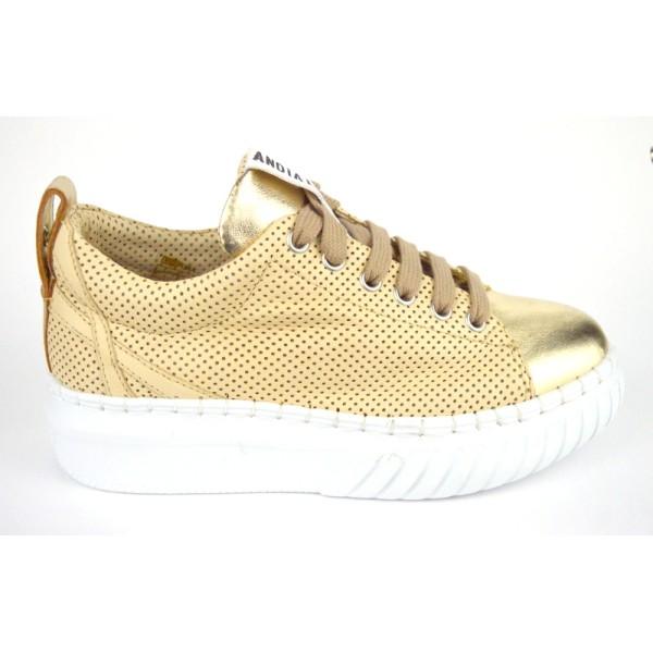 Andia fora Sneakers Traforata Beige + oro Fondo gomma