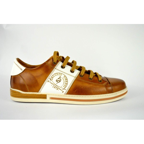 Galizio torresi Sneakers Puntale Fascia Cuoio + bianco Fondo gomma