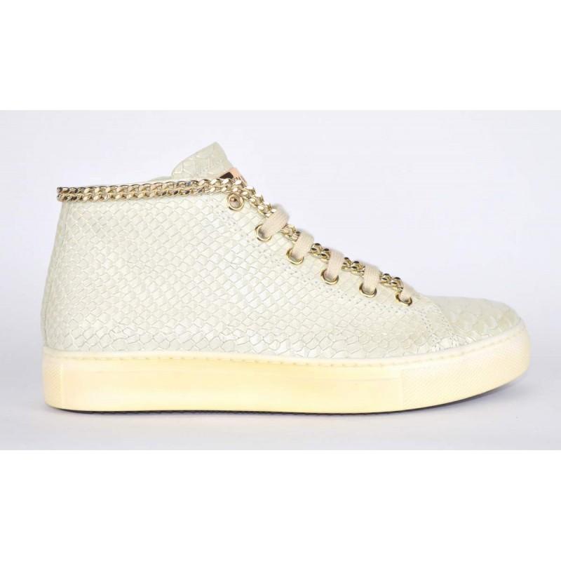 Stokton Sneakers Stampato pitone Mid catena Beige chiaro Fondo gomma d5c4b19a54b