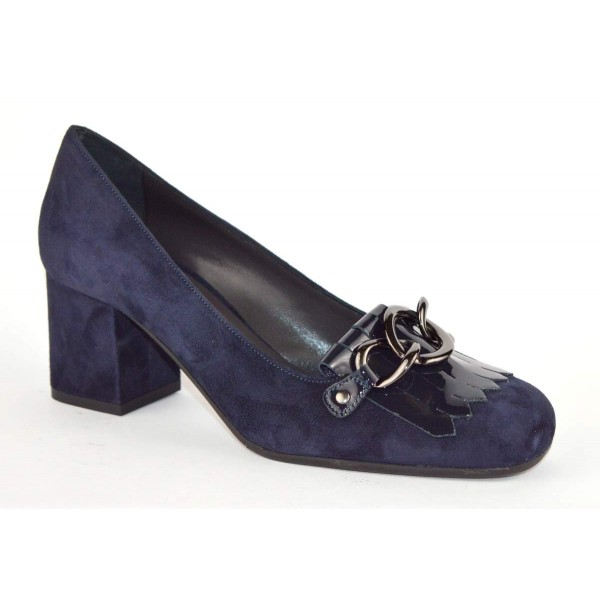 Altariva Pantofola Frangia Morsetto Blu Fondo cuoio e gomma