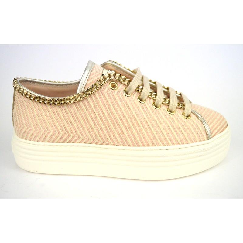 Stokton Sneakers Catena Righe Cipria Fondo gomma