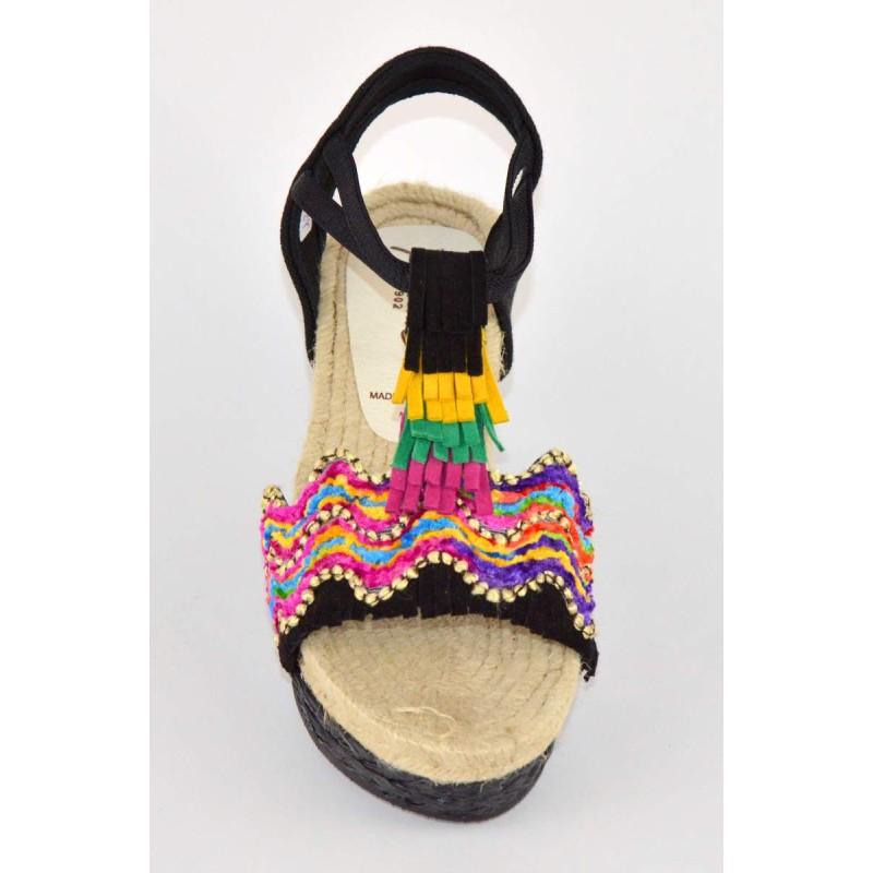 Montane' Sandali Espadrilla Nero + multicolore Fondo gomma