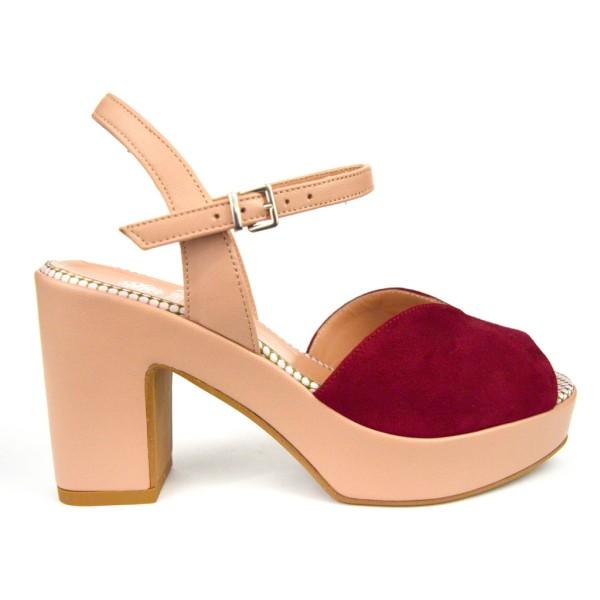 Altariva Sandali Platform Rosso+nero F.do cuoio