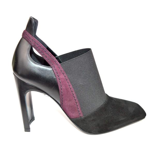 Lella baldi Pantofola Nero + bordo' Fondo cuoio e gomma