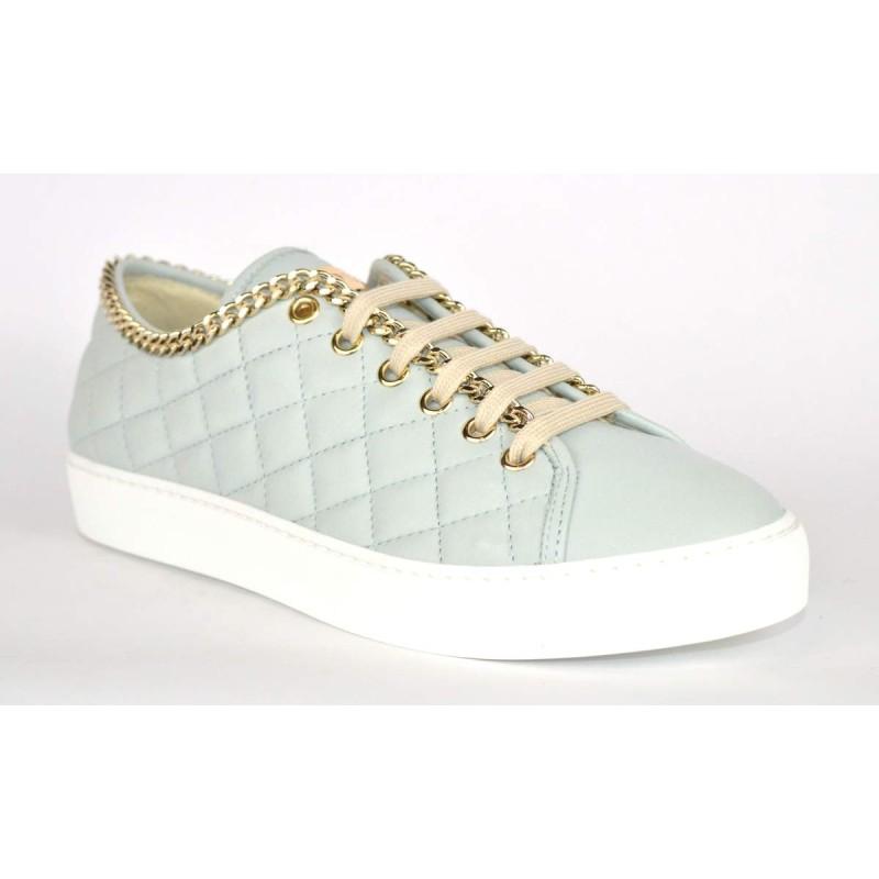 Stokton Sneakers Trapuntata Catena Azzurro Fondo gomma