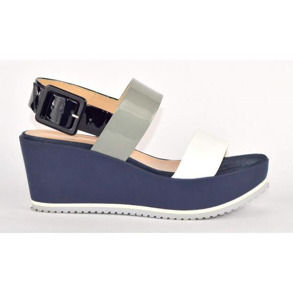 Altariva Sandali Due fasce Tre colori Blu+grigio+bianco Fondo gomma