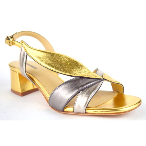 Lola cruz Sandali Multi Oro Fondo cuoio