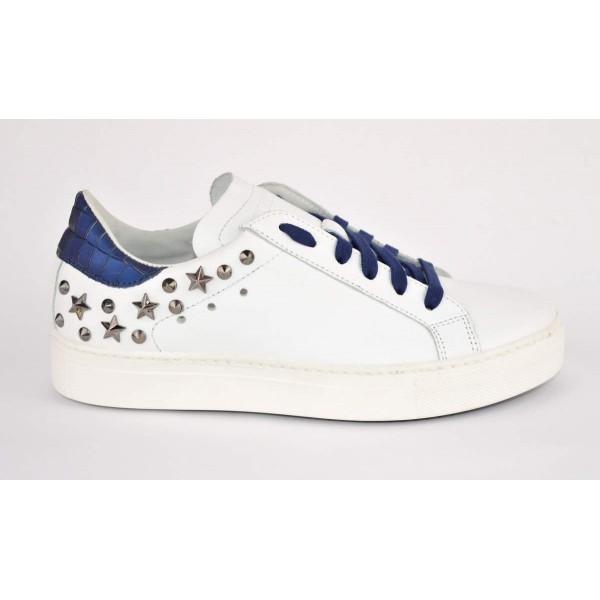 Stokton Sneakers Borchie Bianco + blu Fondo gomma