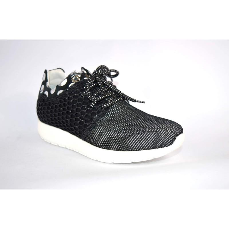 Andia fora Sneakers Pois Nero Fondo gomma