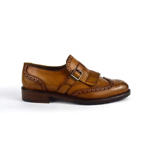 Altariva Pantofola Frangia Fibbia Cuoio Fondo cuoio e gomma