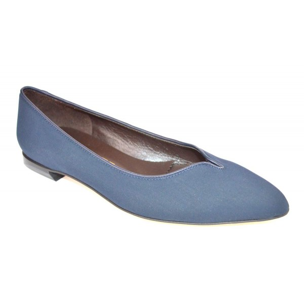 Brunate Ballerina Accollata Blu Fondo cuoio