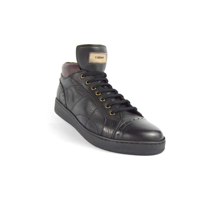 Calpierre Sneakers Alto Puntale Nero Fondo gomma