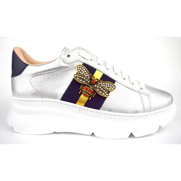 Stokton Sneakers Argento + blu Fondo gomma