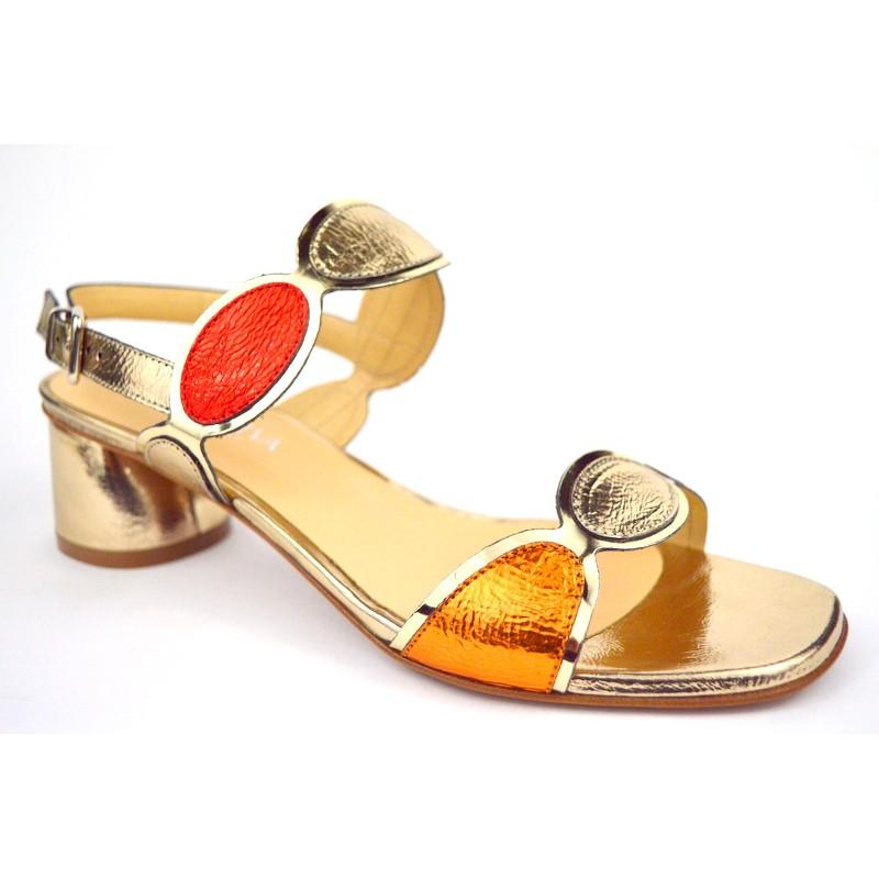 Altariva Sandali Ovali Oro + rame + rosso Fondo cuoio