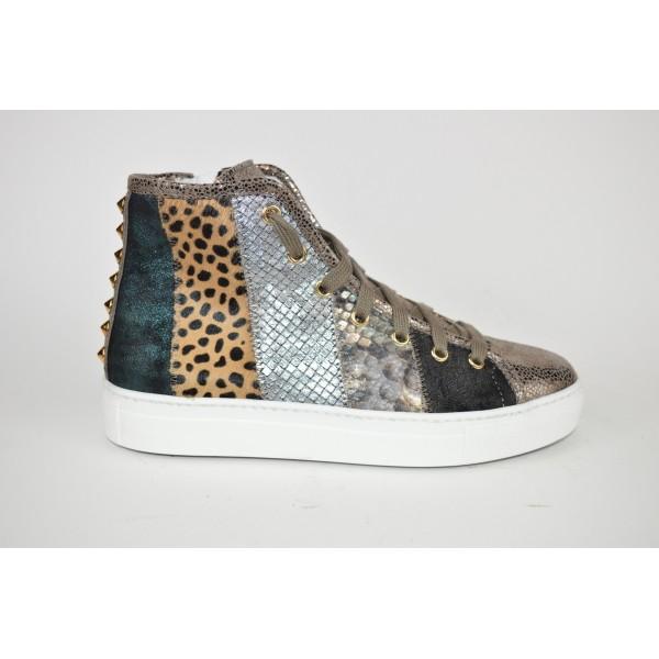 Stokton Sneakers Alta Patch Nero+oro+argento G