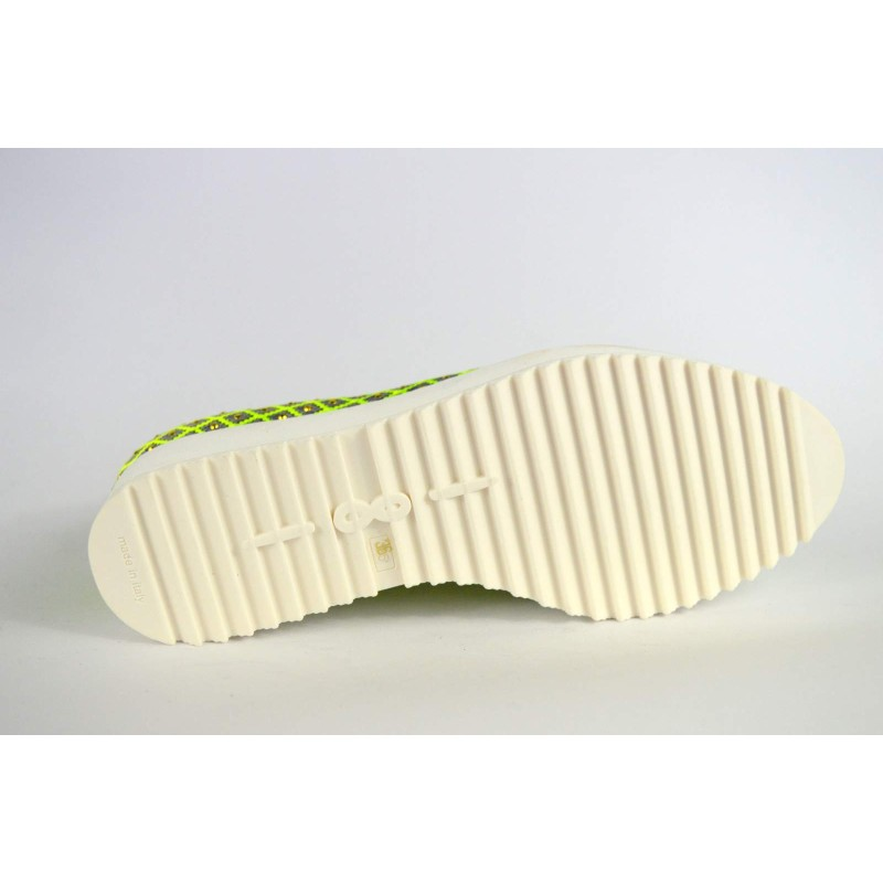 181 Loafers Borchie Verde + oro Fondo gomma