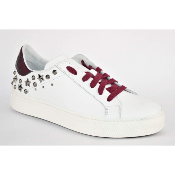Stokton Sneakers Borchie Bianco + bordo' Fondo gomma