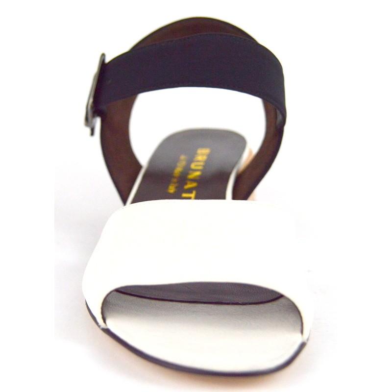 Brunate Sandali Bianco+nero+cuoio Fondo cuoio
