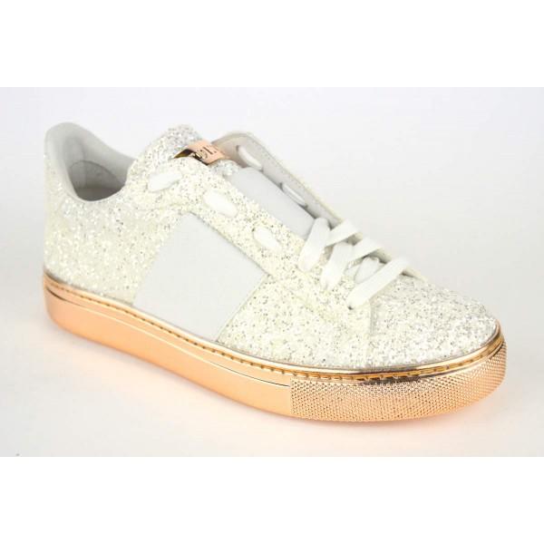 Stokton Sneakers Glitter Bianco Fondo gomma