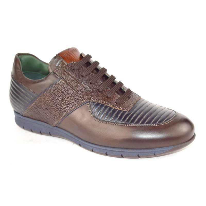 Galizio torresi Sneakers Righe Moca Testa di moro + blu Fondo gomma