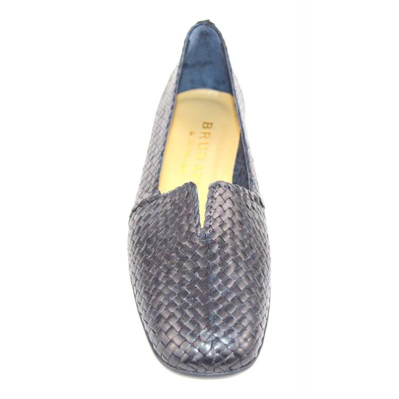 Brunate Pantofola Intrecciato Blu Fondo gomma
