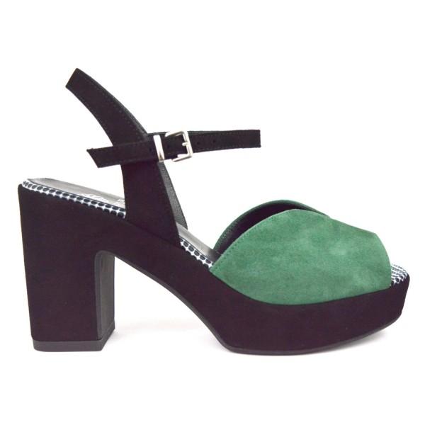 Altariva Sandali Platform Verde + nero F.do cuoio